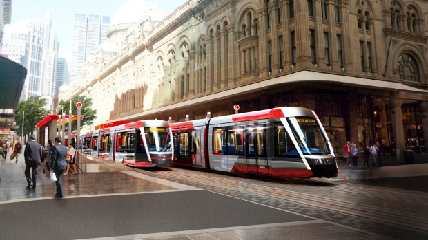 Artistic image of Sydney Light Rail vehicles. www.sydneylightrail.com.au